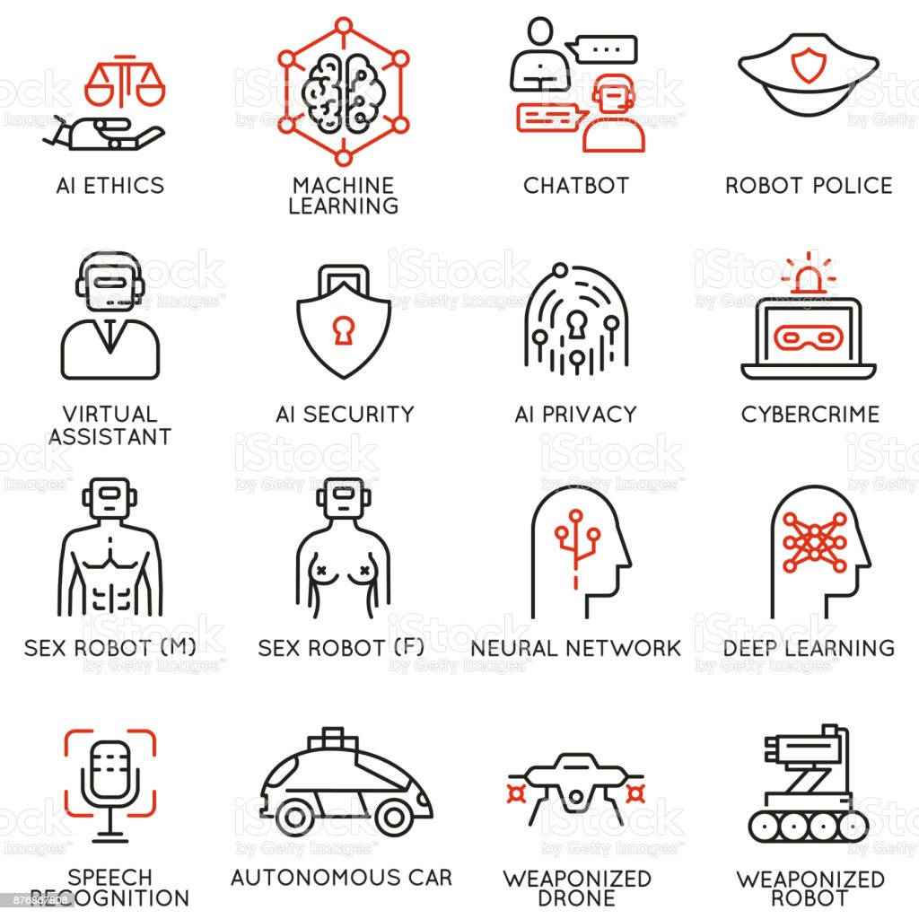 Vector icons related to artificial intelligence ethics, machine learning vector art illustration