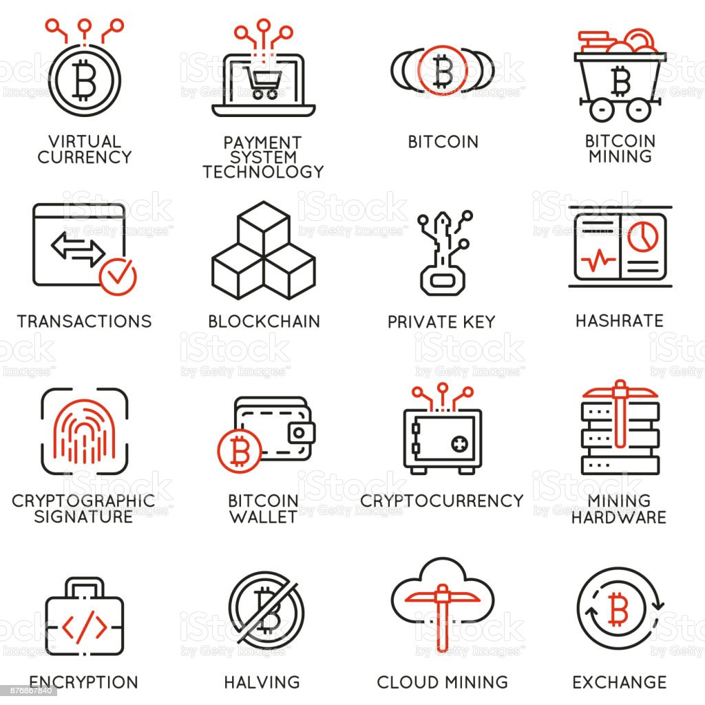 Vector icons related to virtual currency, cryptocurrency and bitcoin mining vector art illustration