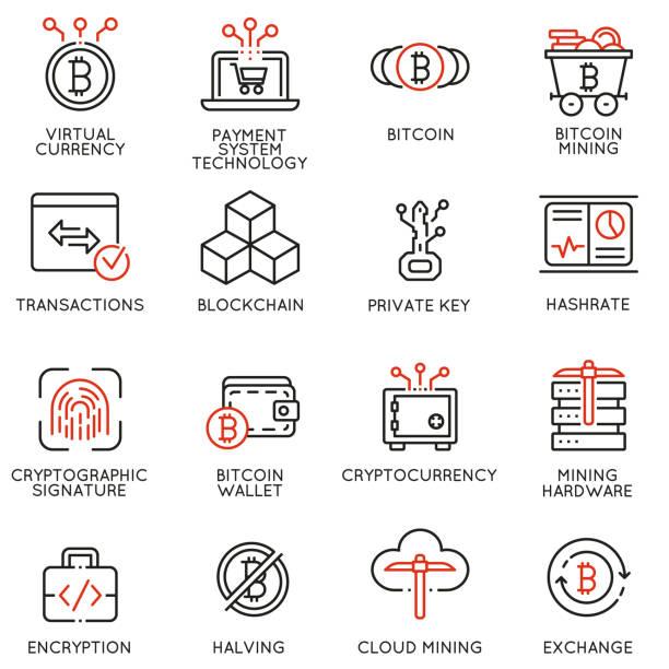 stockillustraties, clipart, cartoons en iconen met vector iconen verband met virtuele valuta, cryptocurrency en bitcoin mining - bitcoin