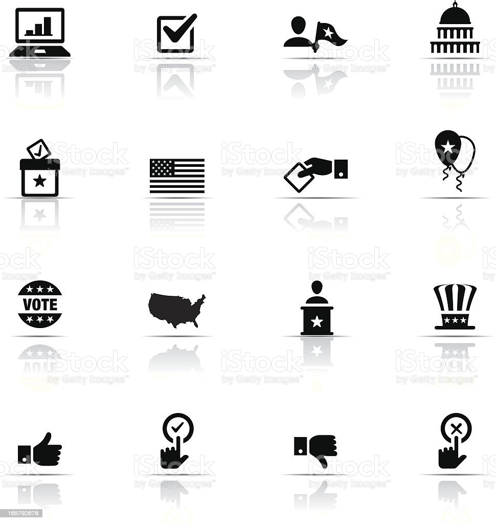 Vector icons relating to politics vector art illustration