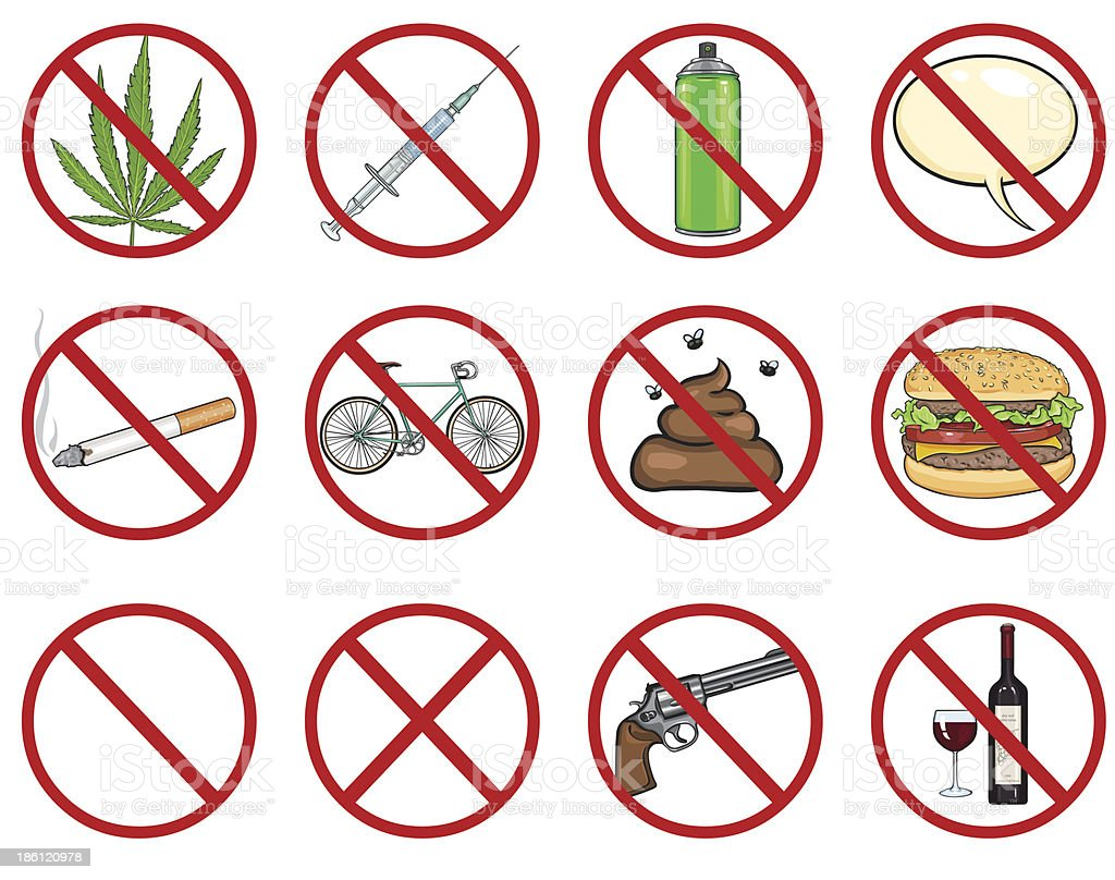 vector icons set - 12 cartoon prohibition signs vector art illustration