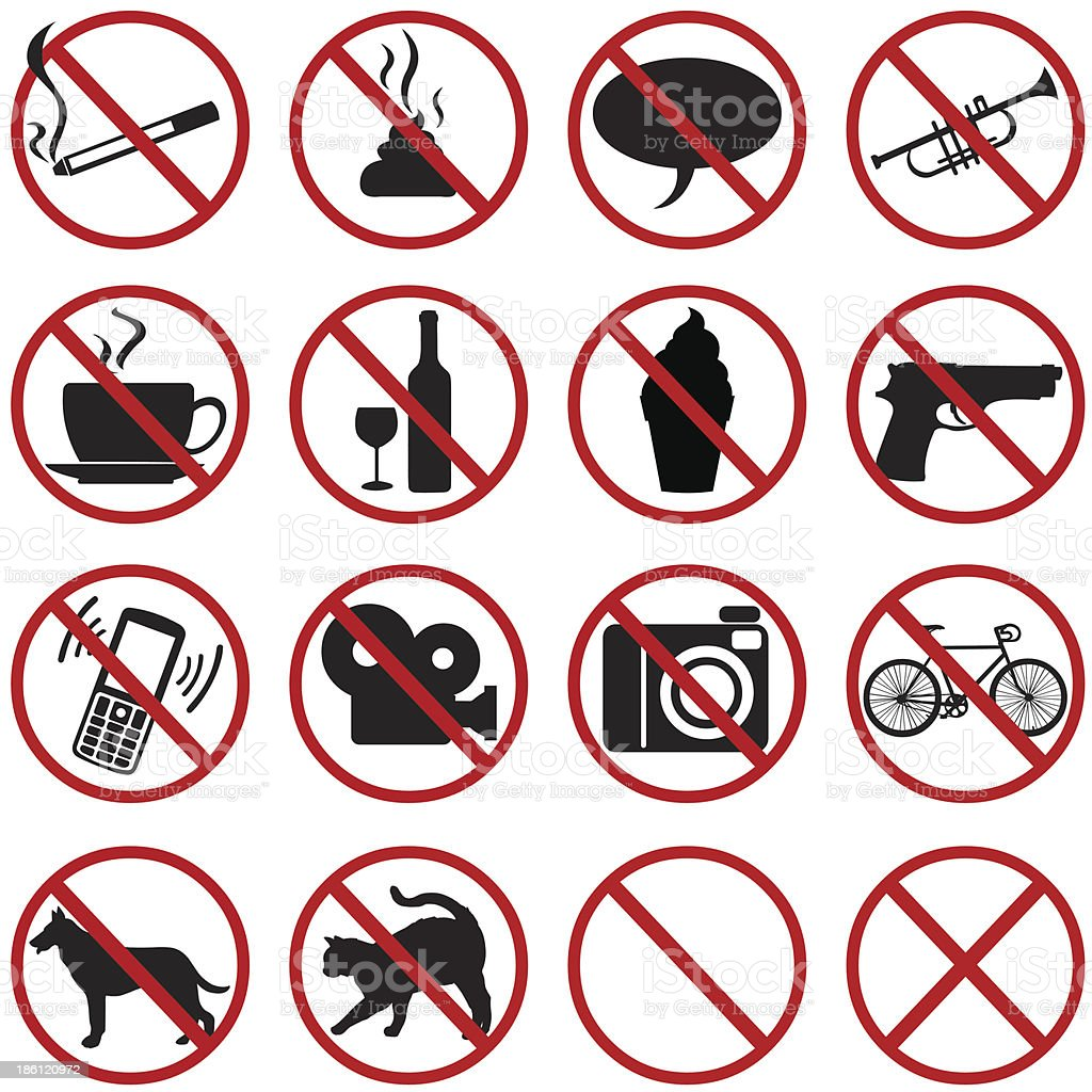 vector icons set - 16 flat prohibition signs vector art illustration
