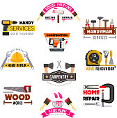Vector icons set carpentry construction work tools