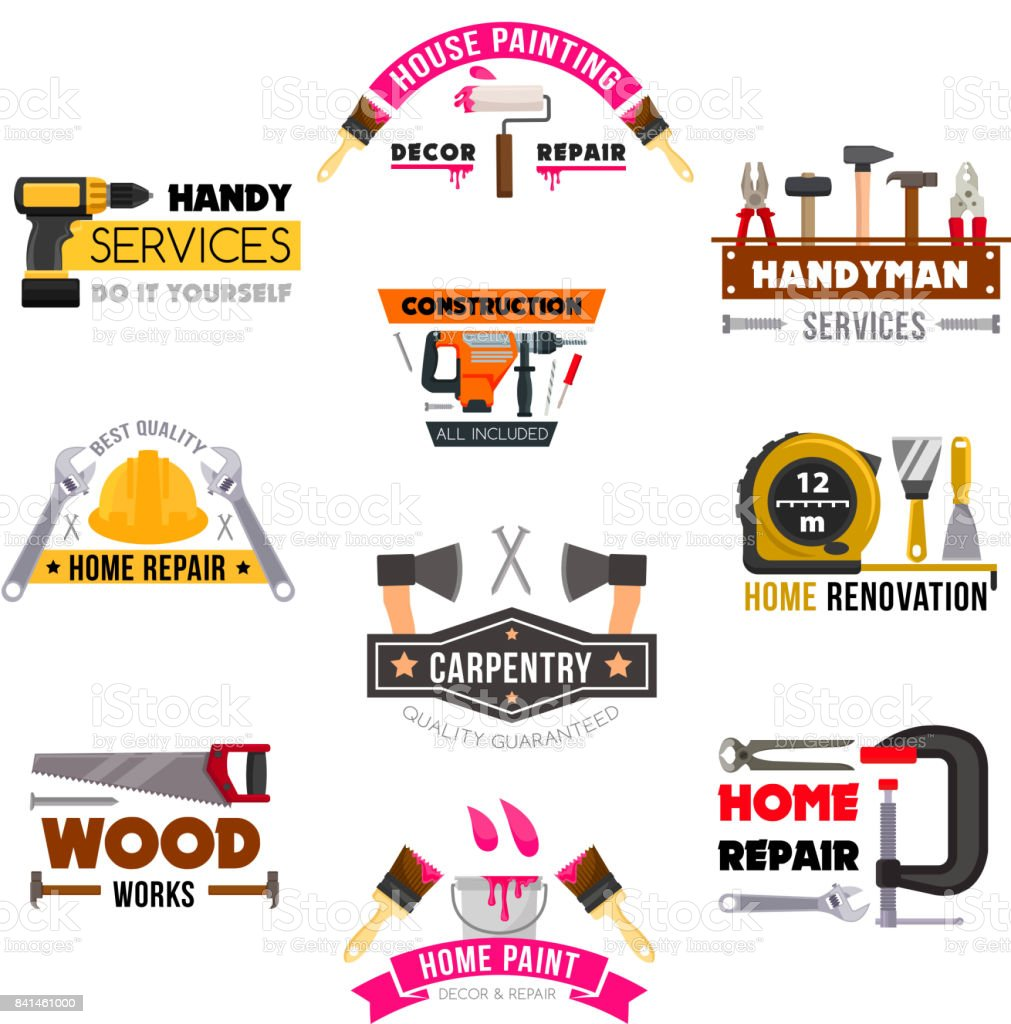 Vector icons set carpentry construction work tools vector art illustration