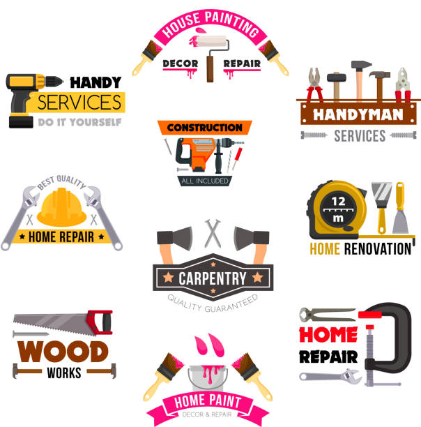 vector icons set carpentry construction work tools - handyman stock illustrations