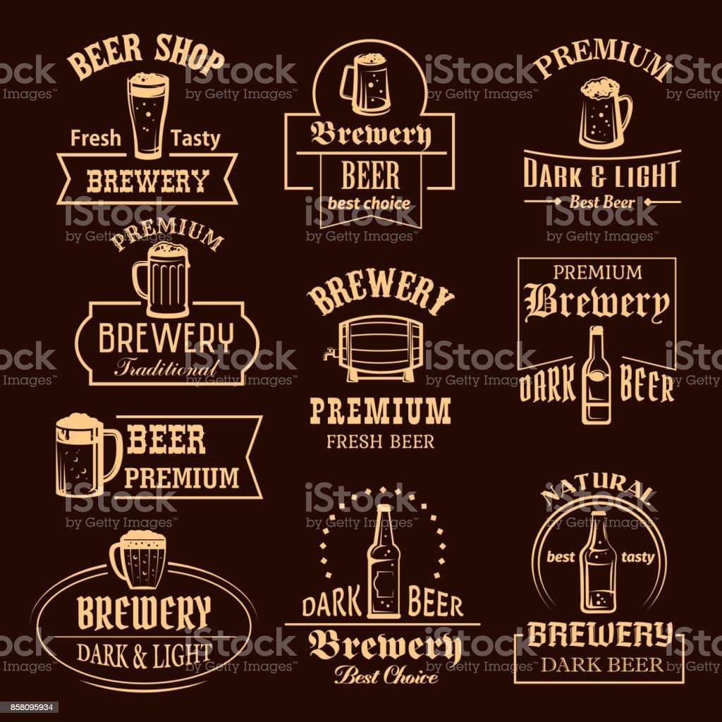 Vector icons set for beer brewery pub or bar vector art illustration