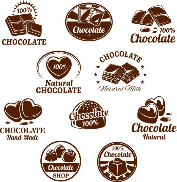 vektor-icons set für schokoladen-desserts - schokolade stock-grafiken, -clipart, -cartoons und -symbole