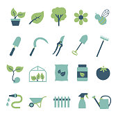 Vector icons set for creating infographics related to gardening and house plants, including flower, garden tool, greenhouse, hose and