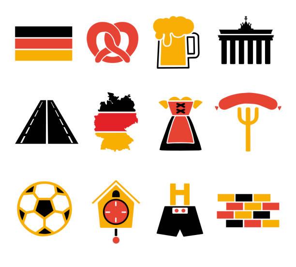 bildbanksillustrationer, clip art samt tecknat material och ikoner med vektor ikoner som för att skapa infographics relaterade till tyskland, som läder byxor, ölmugg, pretzel, dirndl klänning eller fotboll i tradional tyska flaggan färger röd, guld och svart - berlin street