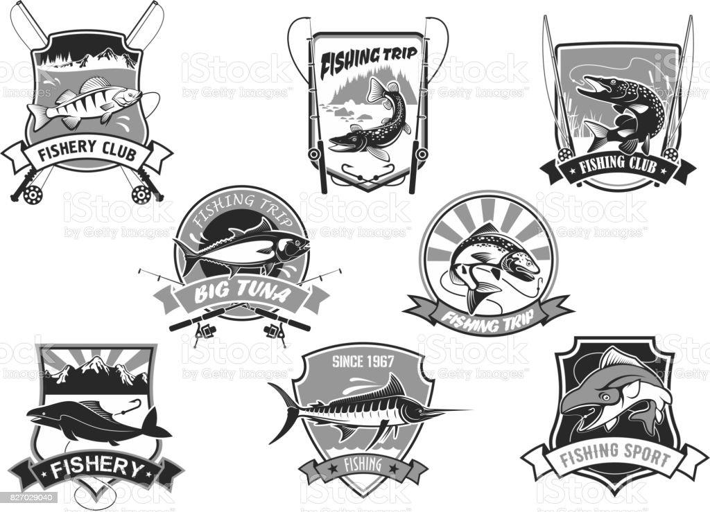 Vector set d'icônes pour pêche ou fisher club de sport - Illustration vectorielle