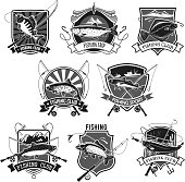 Fishing club or fisherman sport icons set of big tuna fish catch, salmon or trout and fishing rod tackle bait or lure, fishery net and flounder or pike on hook. Vector isolated badges for fisher trip