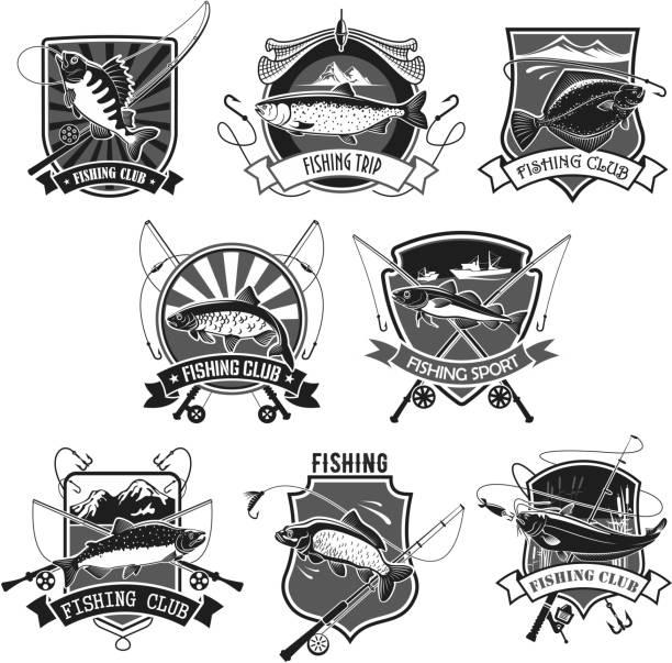 vektor-icons set für angeln oder fisher-sport-club - seehecht stock-grafiken, -clipart, -cartoons und -symbole