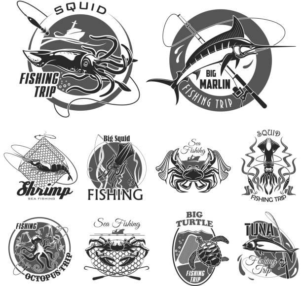 vektor-icons, angeln oder fisher reise - seehecht stock-grafiken, -clipart, -cartoons und -symbole