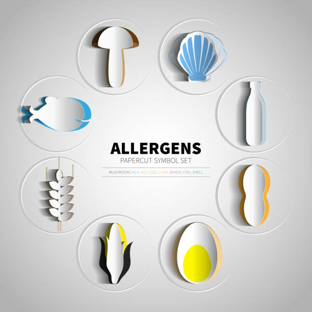 Vector icons set for papercut allergens products vector art illustration