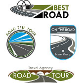 Road travel or trip tour company icons set. Vector isolated symbols or badges with highways path, bridge and motorway curve lanes for road journey agency or travel company templates