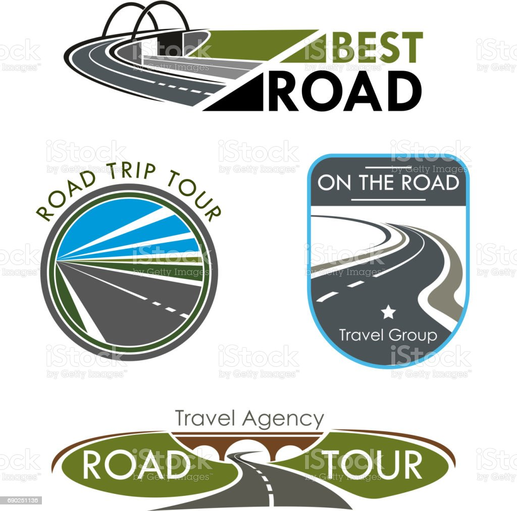 Vector icons set for road travel or trip company vector art illustration