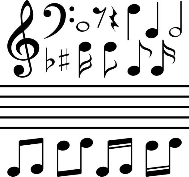 vektor-icons-set-musik-hinweis - musiksymbole stock-grafiken, -clipart, -cartoons und -symbole