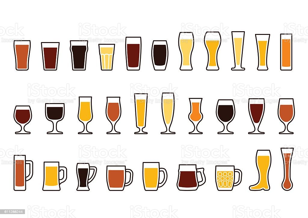 Vector icons set of beer mugs and glasses vector art illustration