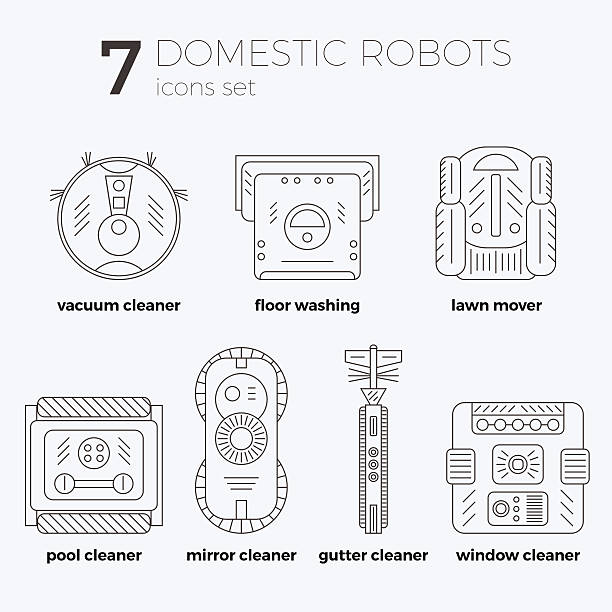 Vector icons set of domestic robots in line art vector art illustration