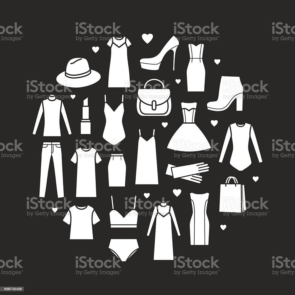 Vector icons set of fashion ladieswear – Vektorgrafik