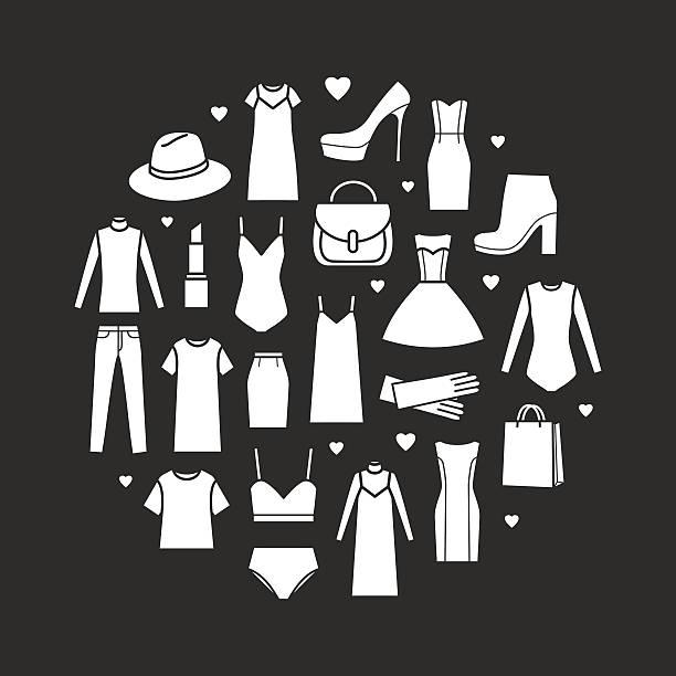 vector icons set of fashion ladieswear - damenmode stock-grafiken, -clipart, -cartoons und -symbole