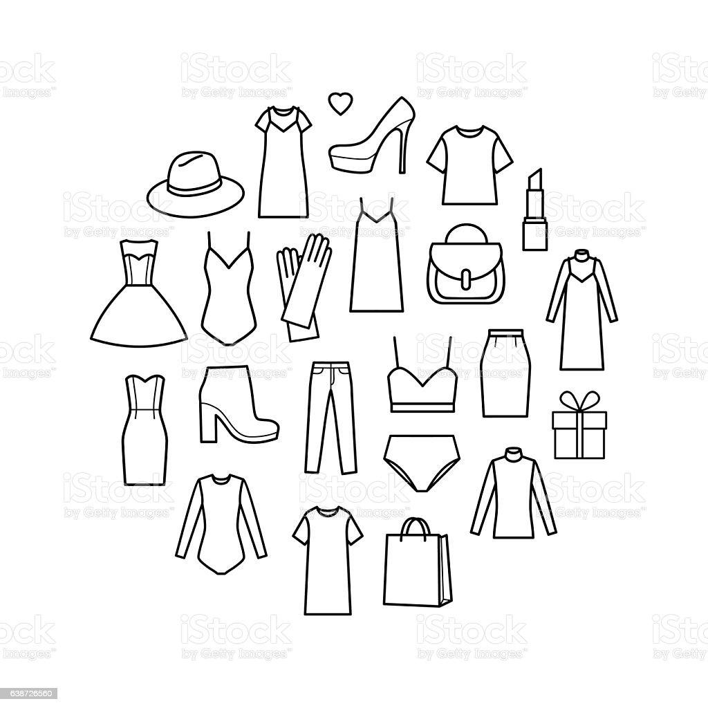 Vector icons set of  ladieswear – Vektorgrafik