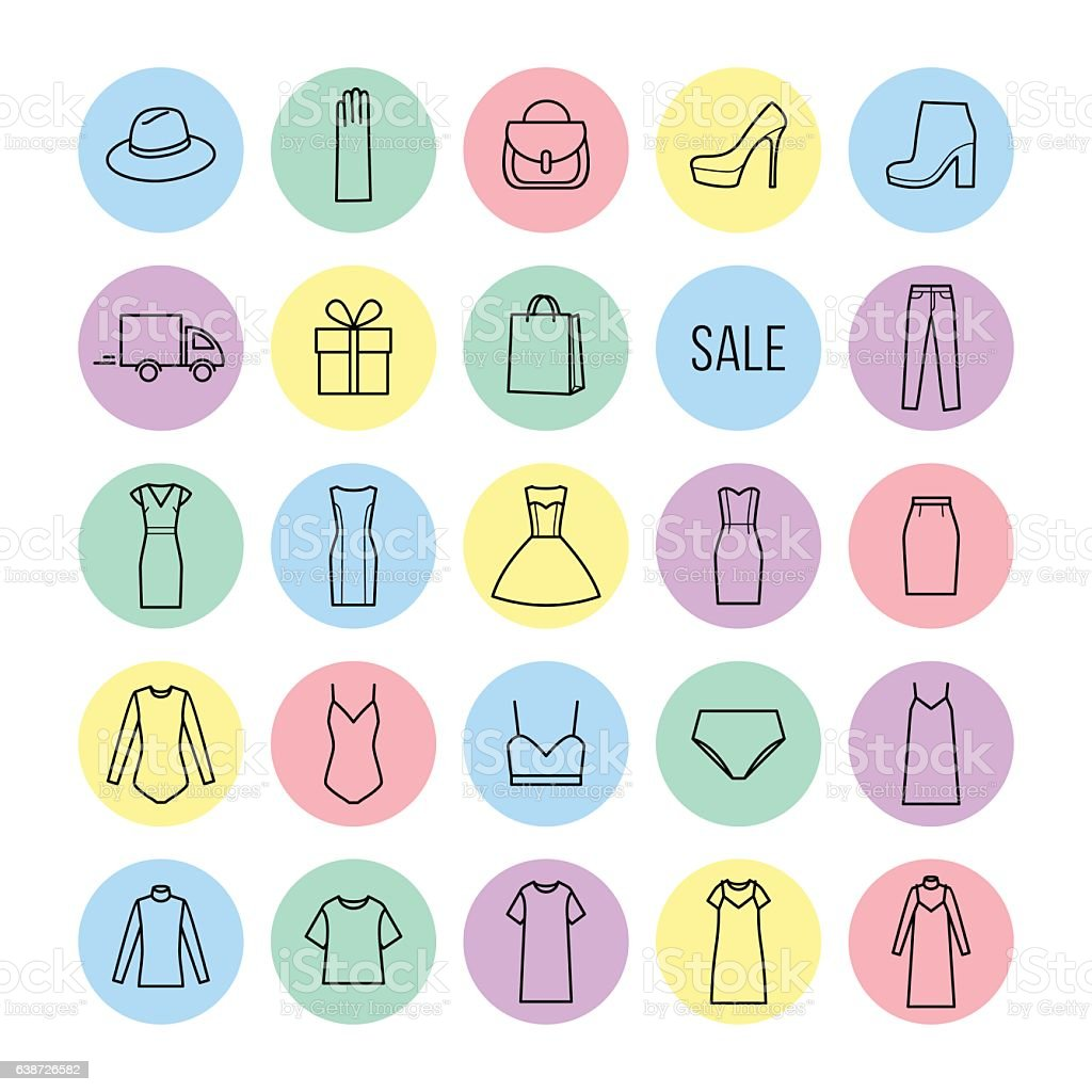 Vector icons set of  womens clothing and accessories – Vektorgrafik