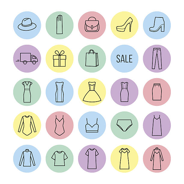 vector icons set of  womens clothing and accessories - damenmode stock-grafiken, -clipart, -cartoons und -symbole