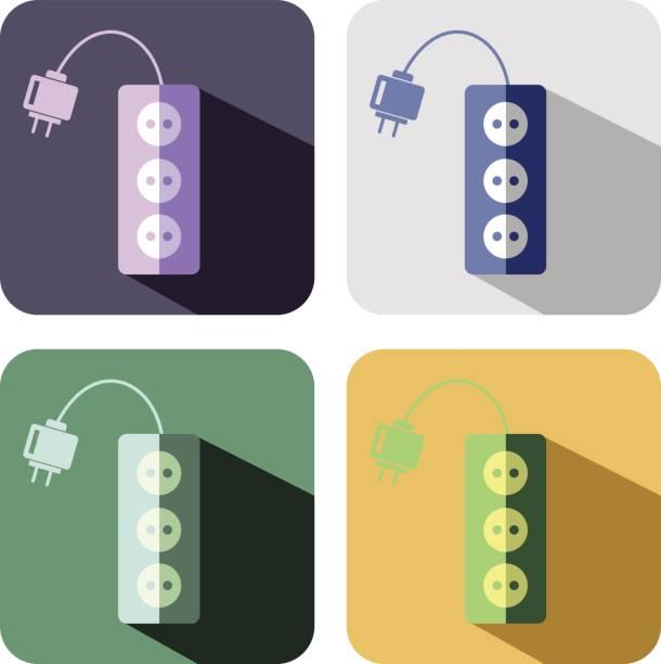illustrations, cliparts, dessins animés et icônes de vecteur icônes set - rallonge électrique