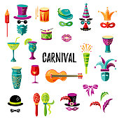 Carnival and celebratory subjects, masks, musical instruments, fireworks, drinks, confetti Vector icons set