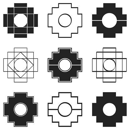 vector icons set with Inca Cross Chakana