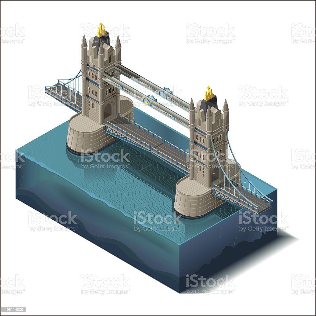 Vector icons set.Bridge over the river,design, unit structure vector art illustration