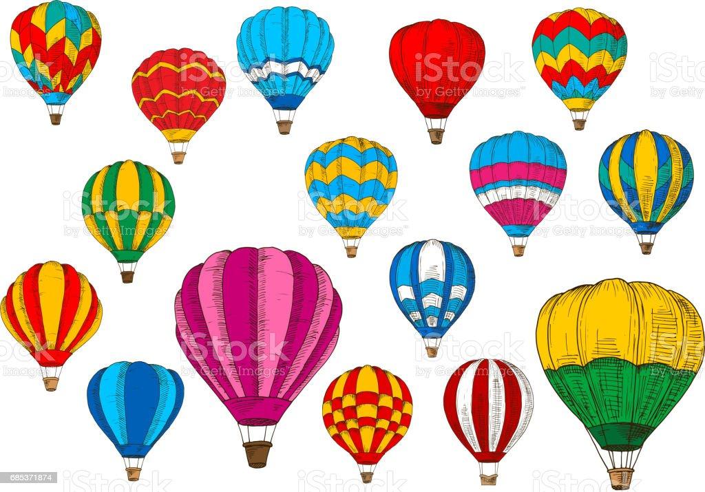 Vector icons sport sketch patterned air balloons vector icons sport sketch patterned air balloons - arte vetorial de stock e mais imagens de ao ar livre royalty-free