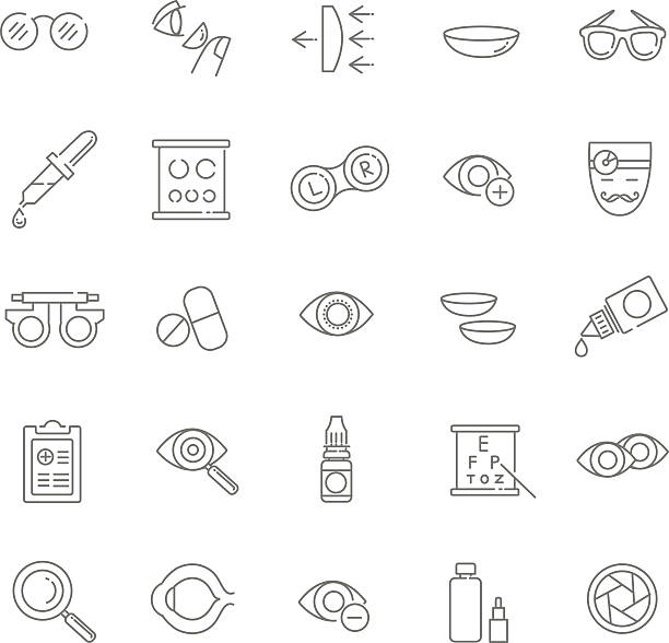 ilustraciones, imágenes clip art, dibujos animados e iconos de stock de vector iconos - optometrista