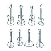 Guitar Line Set. Vector Icons.