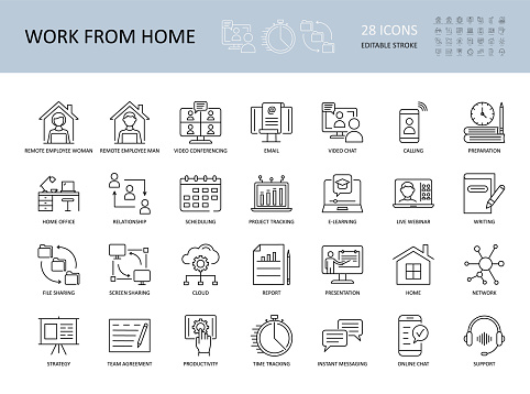 Vector icons Work from home. Editable Stroke. Remote employees woman and man workplace. Video conference email, time and project tracker, productivity strategy. Support online chat call presentation