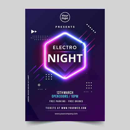 Vector IIlustration Dance Club Night Summer Party Poster Flyer Layout Template. Colorful Music Disco Banner Design