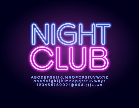 Vector illuminated emblem Night Club with modern glowing Alphabet. Neon trendy Font