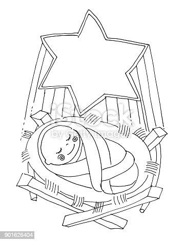 Ilustración de Vector Illustartion De Libro De Colorear Pequeño Bebé ...