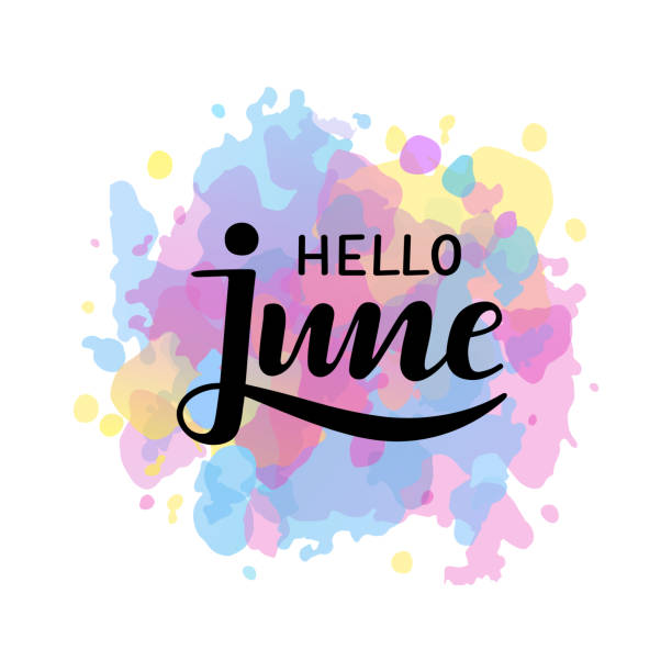 "stockillustraties, clipart, cartoons en iconen met vector illustartion ""hallo juni"" op aquarel achtergrond. - juni"