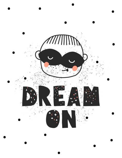 ilustrações de stock, clip art, desenhos animados e ícones de vector illustation. dream on. little boy portrait with mask - baby super hero