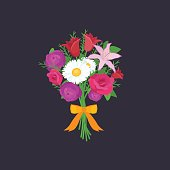 Vector illustraion bouquet of flowers greeting cart Happy Mothers Day