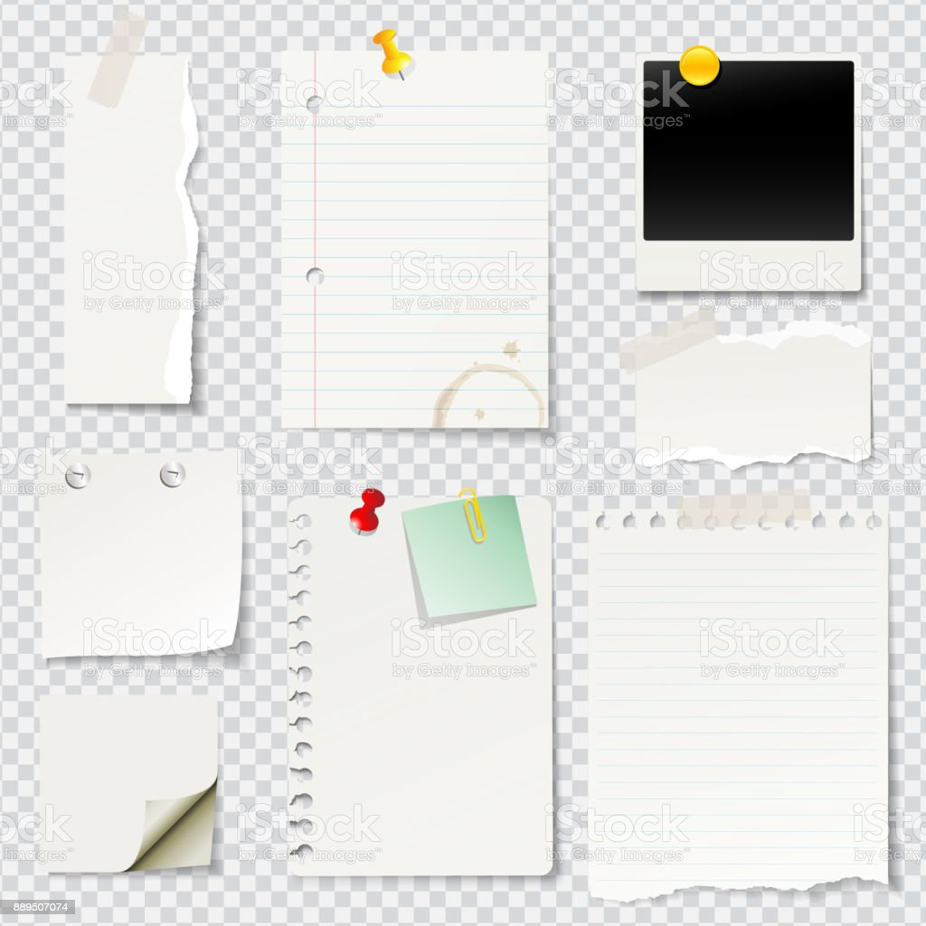 Vector illustrated blank notes and papers vector art illustration