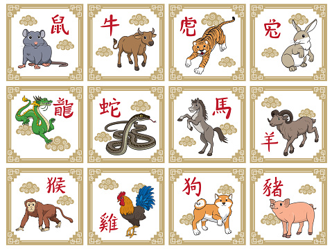 Vector illustration 12 Chinese Horoscope Animals isolated on white background. Chinese Calendar or Chinese Zodiac Sign concept. Cartoon characters. Education and school kids coloring page, printable, activity, worksheet, flashcard.