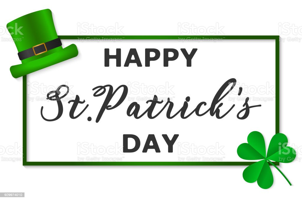 Vector Illustration 17 March Happy Saint Patricks Day With Text And