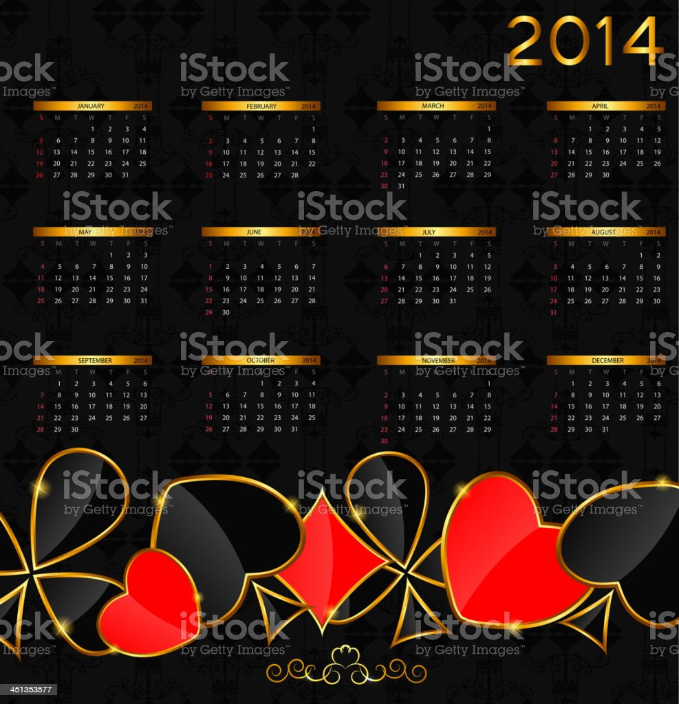 vector illustration. 2014 new year calendar in poker theme royalty-free vector illustration 2014 new year calendar in poker theme stock vector art & more images of 2014