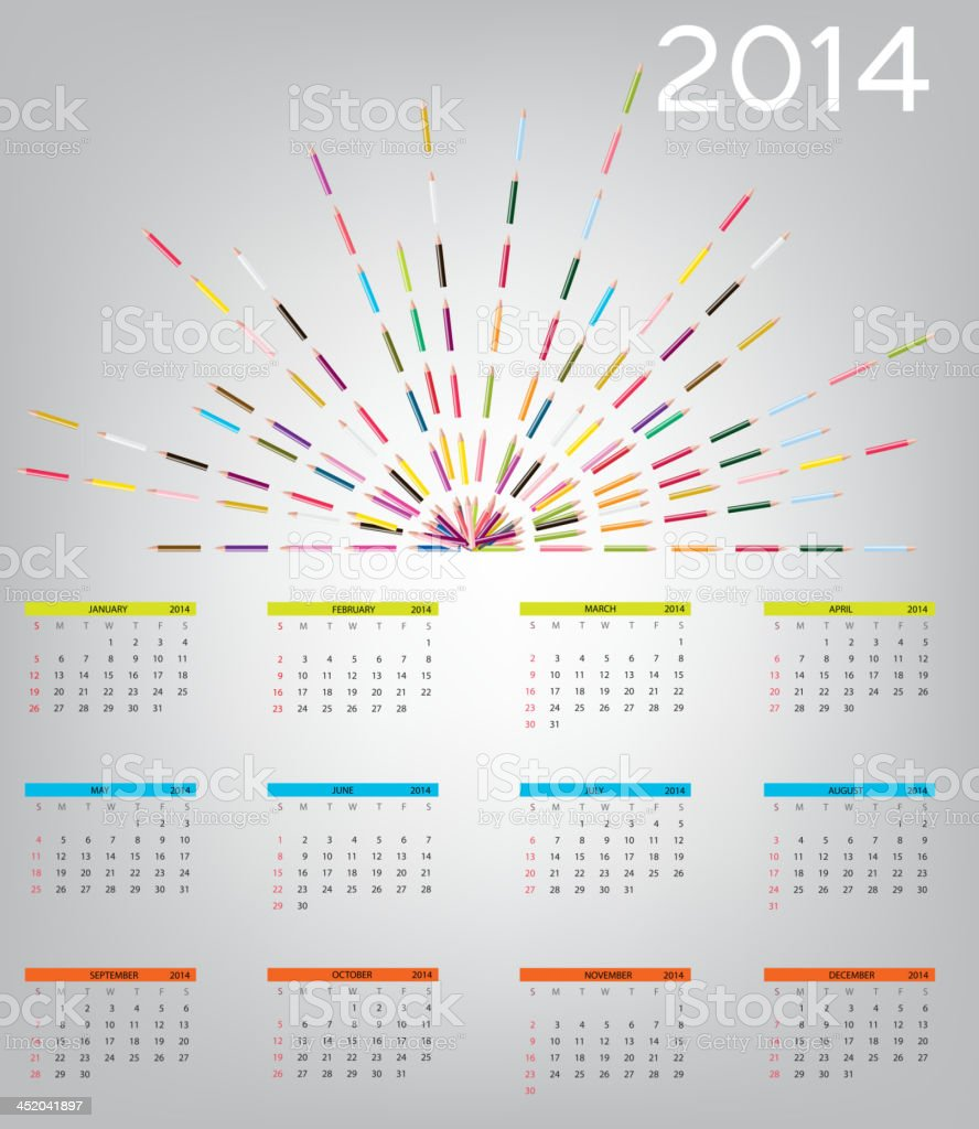 vector illustration 2014 new year calendar royalty-free vector illustration 2014 new year calendar stock vector art & more images of 2014