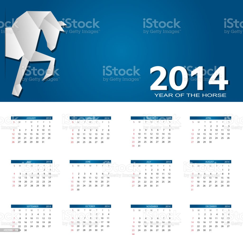 vector illustration. 2014 new year calendar royalty-free stock vector art
