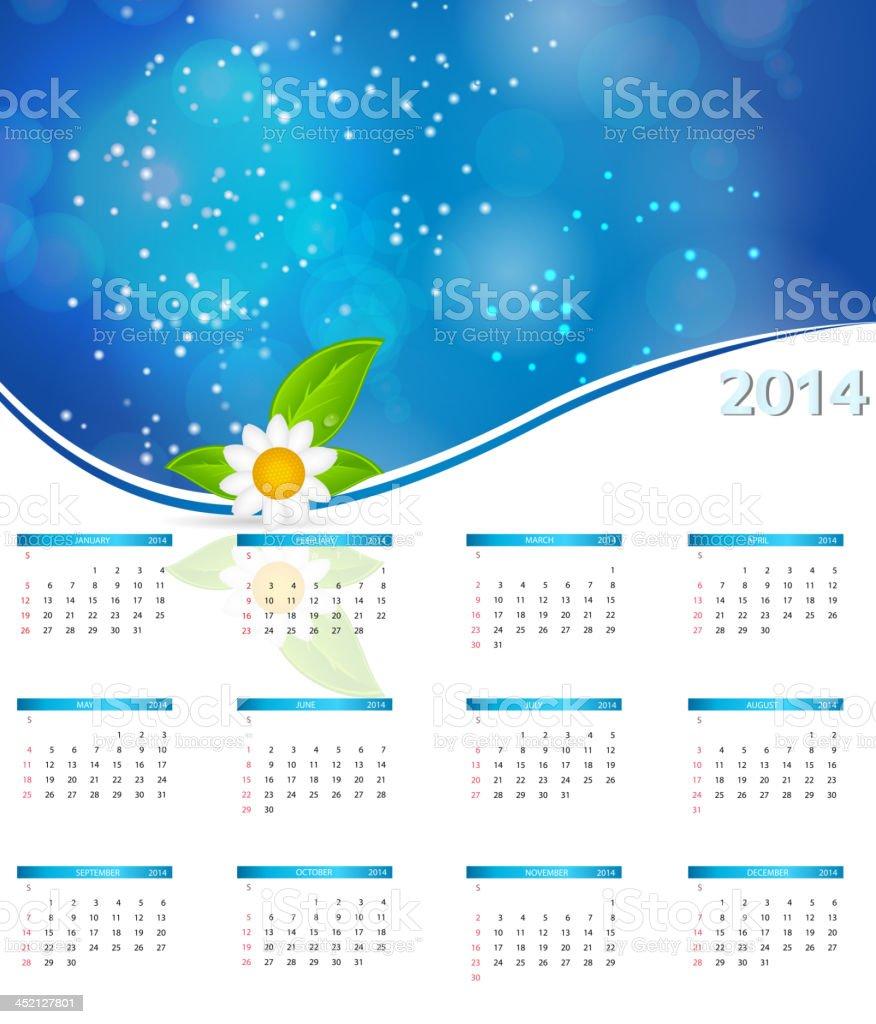 vector illustration. 2014 new year calendar royalty-free stock vector art