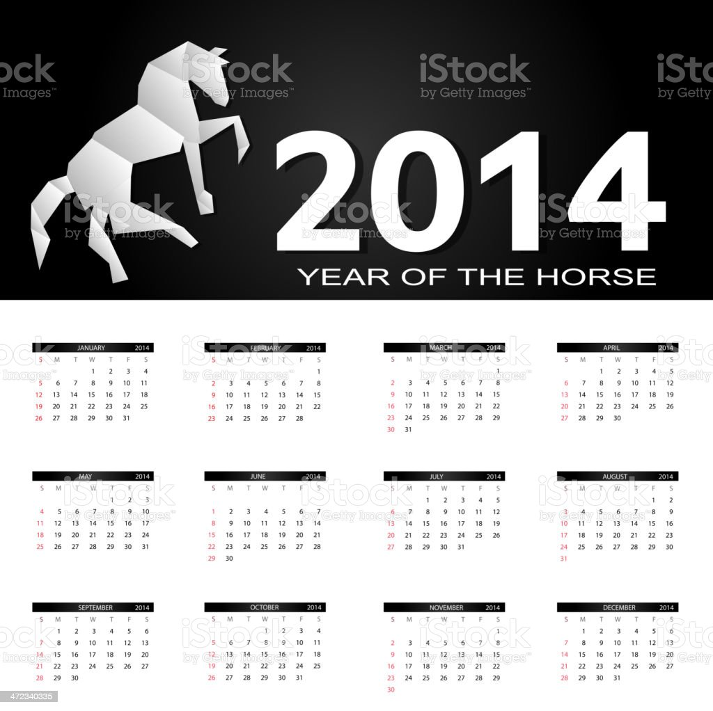 vector illustration 2014 new year calendar royalty-free stock vector art